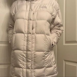 The north face white puffer coat